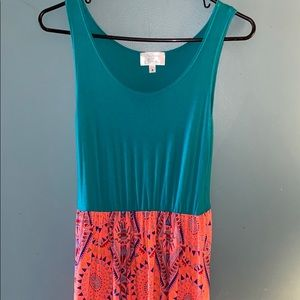 Bright multi color maxi dress sz small